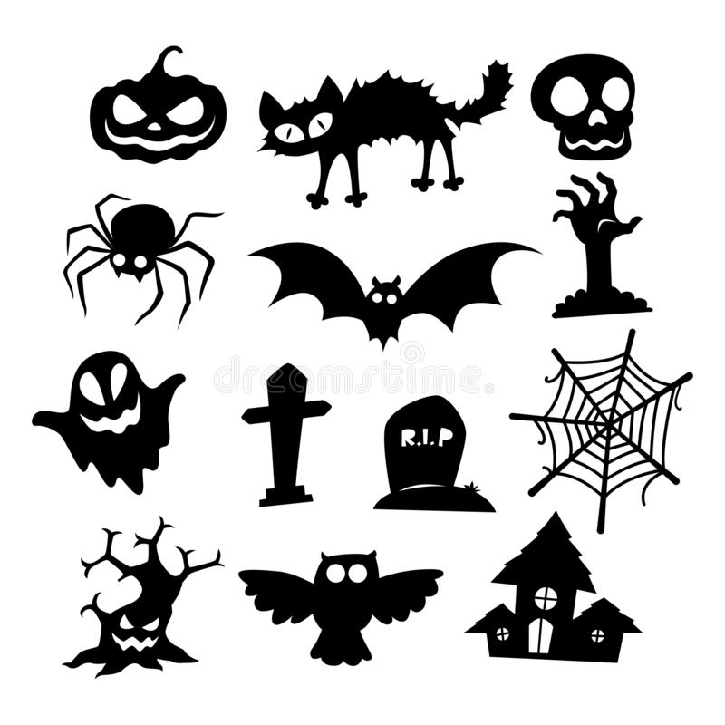 Halloween icons silhouette collection, vector. Halloween icons set on white background, EPS 10 stock illustration