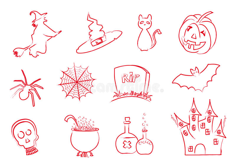 Download Halloween icons stroke stock vector. Illustration of poison - 21416369