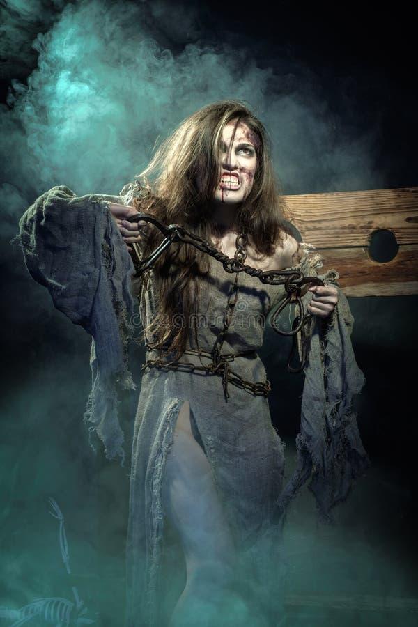 Halloween A Idade Média Sinal da bruxa uma sentença do Inquisit fotos de stock