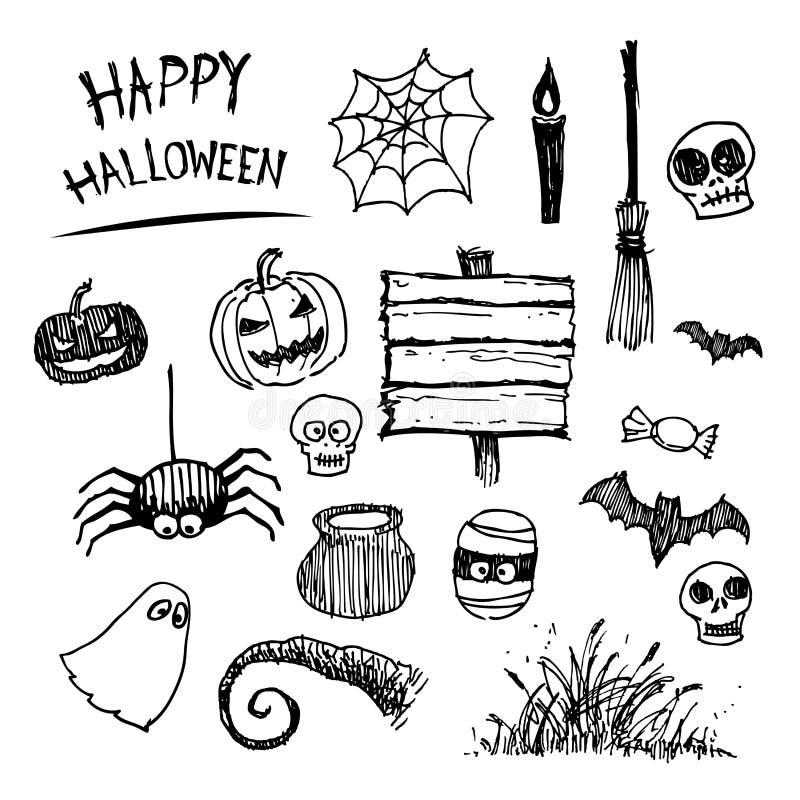 Halloween-Ikonenkarikatur lizenzfreie abbildung