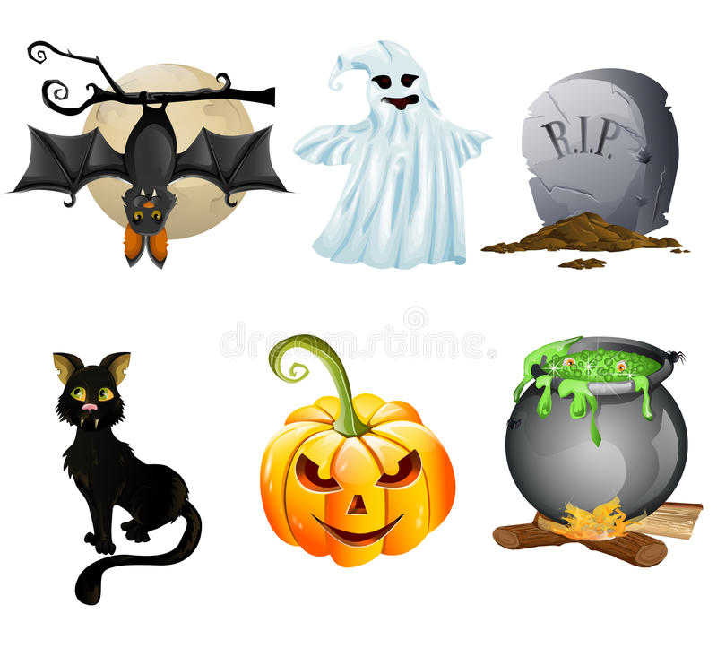 Halloween-Ikonenset lizenzfreie abbildung