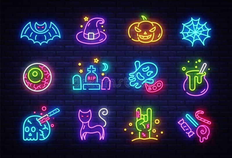 Halloween-ikonuppsättning Glappade symboler för Halloween-samlingslampan Skyltar, ljusbanderoll Neon isolerad ikon, emblem stock illustrationer