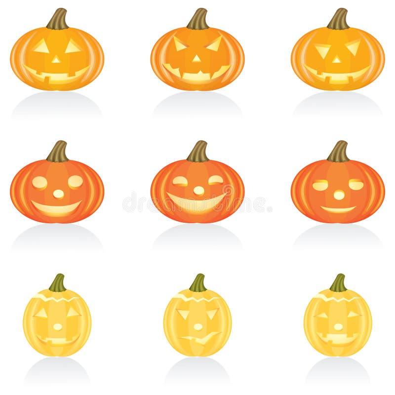 halloween ikony dynię zestaw ilustracja wektor