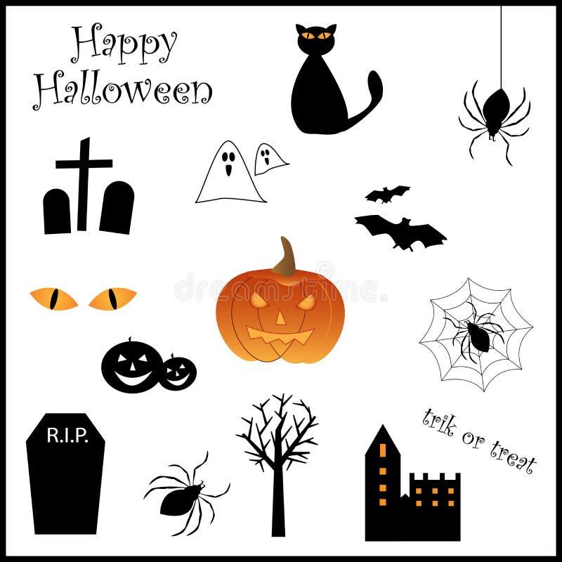 halloween ikony set royalty ilustracja