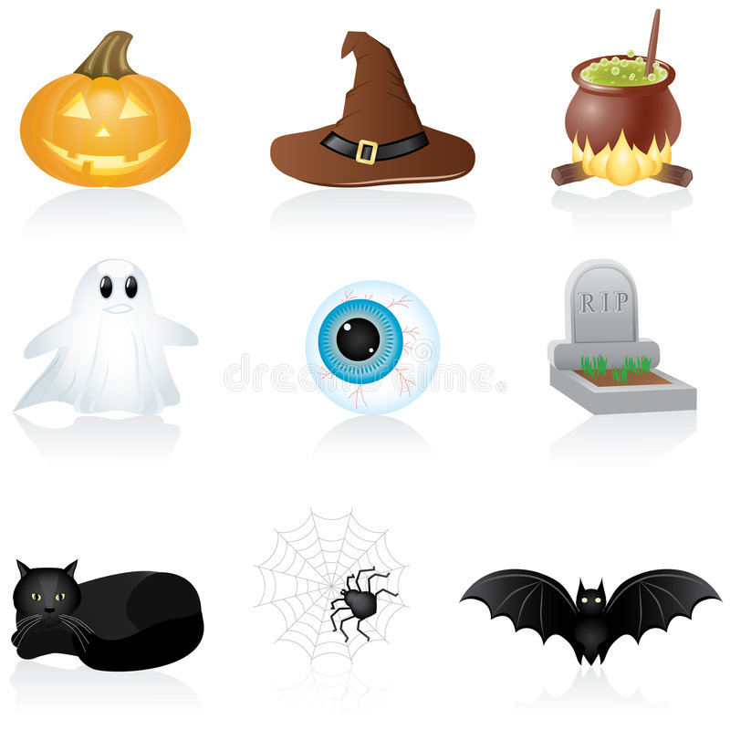 halloween ikony zestaw royalty ilustracja