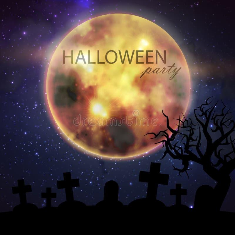 Halloween-illustratie met volle maan en begraafplaats op de achtergrond van de nachthemel Het ontwerp van de partijvlieger stock illustratie