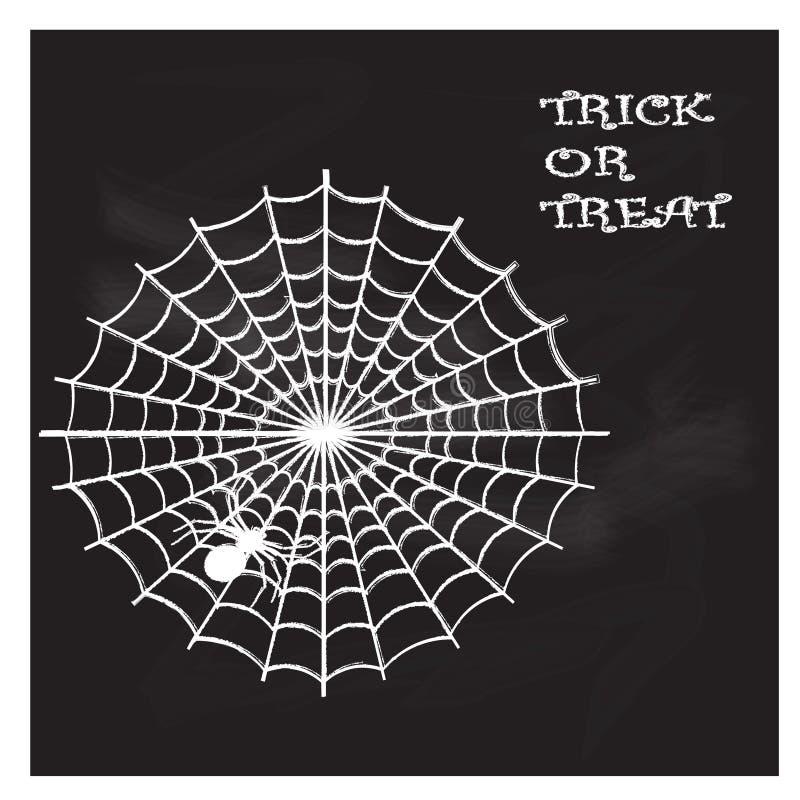 Halloween-illustratie met Web en spin op het bord royalty-vrije illustratie