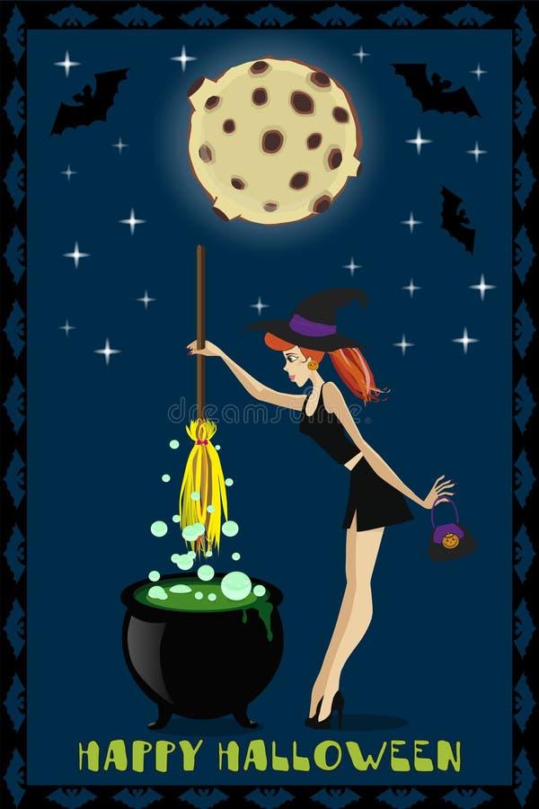 Halloween-illustratie van leuke jonge heks met ketel op volle maanachtergrond met sterren en knuppels Halloween-groetkaart of I royalty-vrije illustratie