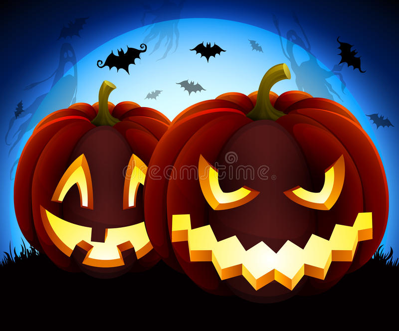Halloween illustration. With pumpkins on blue moon background