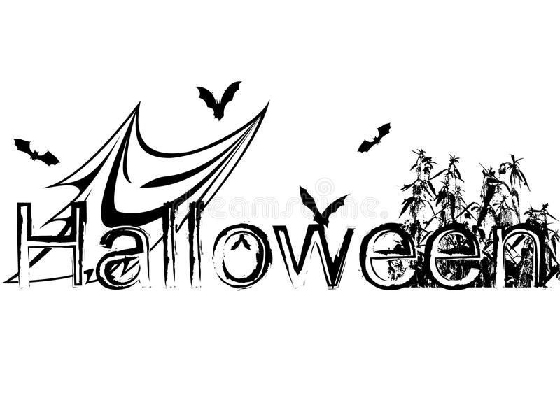 Halloween illustration with bats and ghost stock illustration