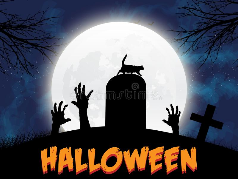 Halloween illustration with black cat on moon background. Check my portfolio for raster version. Vector illustration. EPS 10 stock illustration