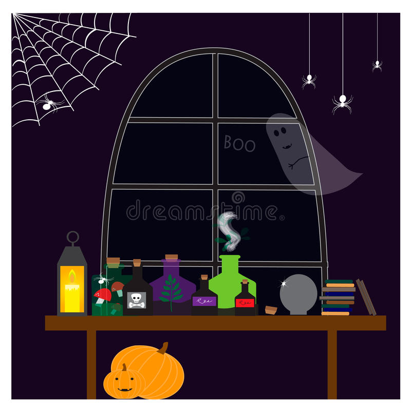 Halloween illustration with with bottles of different potions stock illustration