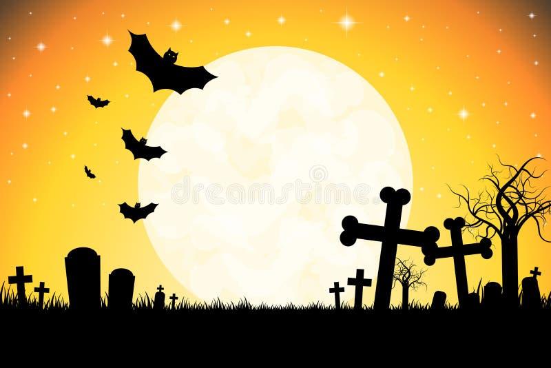 Halloween illustration - cemetary, moonlight. Halloween illustration with a cemetary, moonlight, flying bats, tree stock illustration