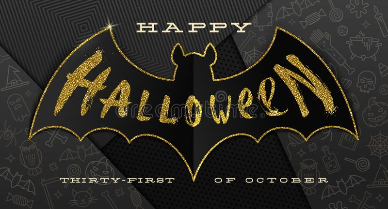 Halloween illustration. Glitter gold greeting on a silhouette of paper bat, against a black paper background with linear Ha royalty free illustration