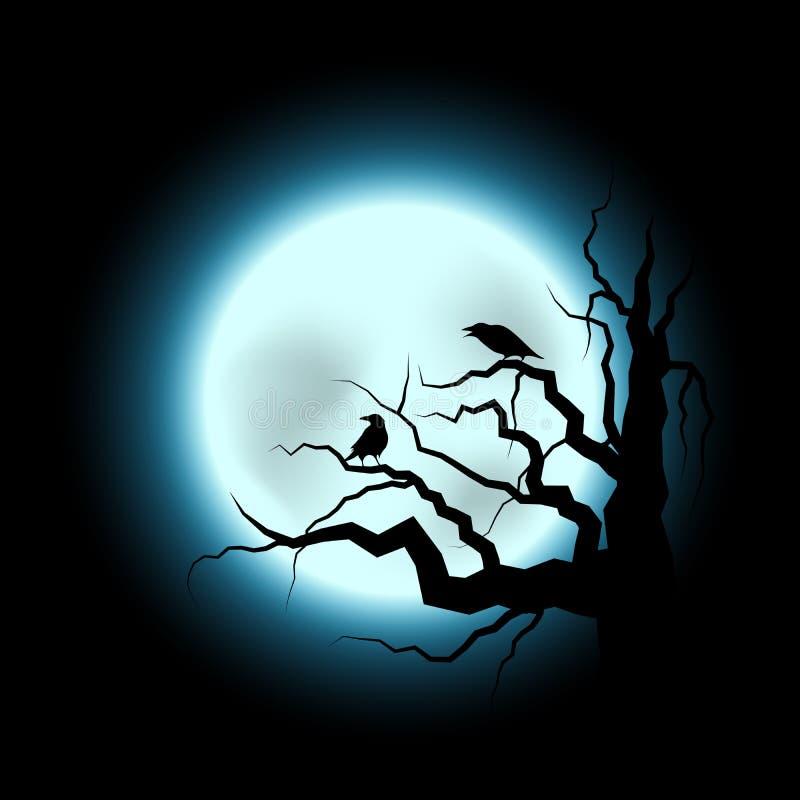 Halloween-Illustration mit Raben und Vollmond vektor abbildung