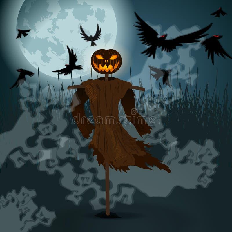 Halloween-Illustration mit schlechter Vogelscheuche, Vollmond und Krähen stock abbildung
