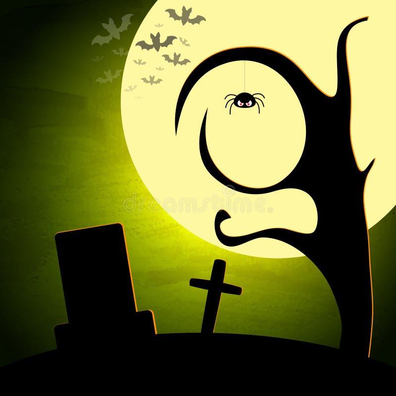 Halloween illustration with moon and dark landscape vector illustration