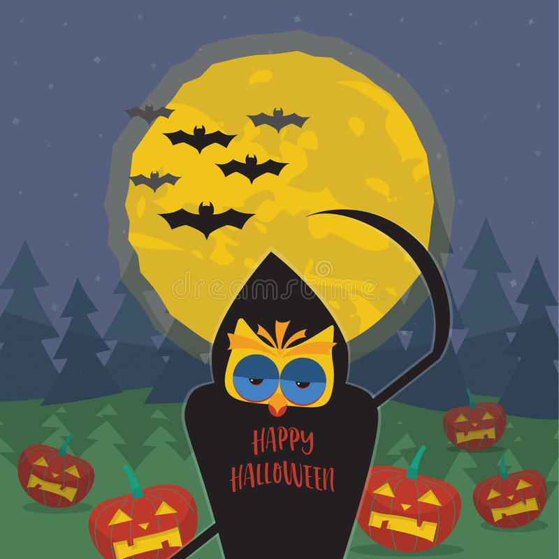 Download Halloween Illustration With Owl In The Image Of Death A Scythe Stock Vector