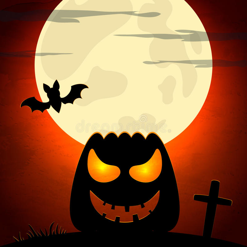 Halloween illustration with pumpkin and dark landscape stock illustration