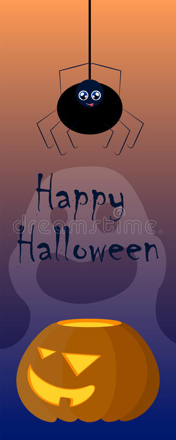 Halloween illustration with pumpkin and spider. Creepy and lovely cartoon characters image. stock illustration