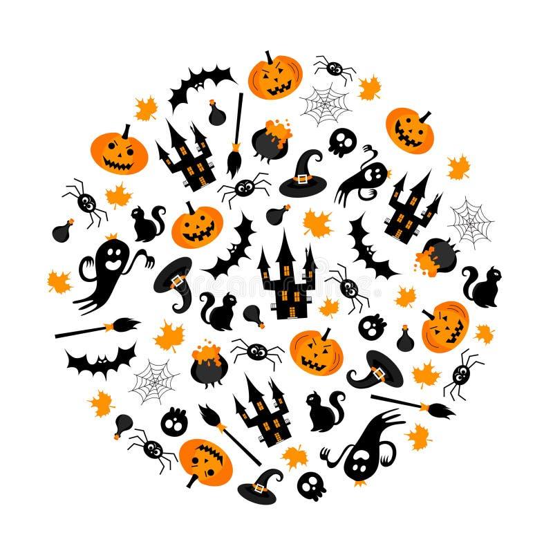 Halloween illustration. Set of elements. Vector illustration. Best banner for Halloween party stock illustration