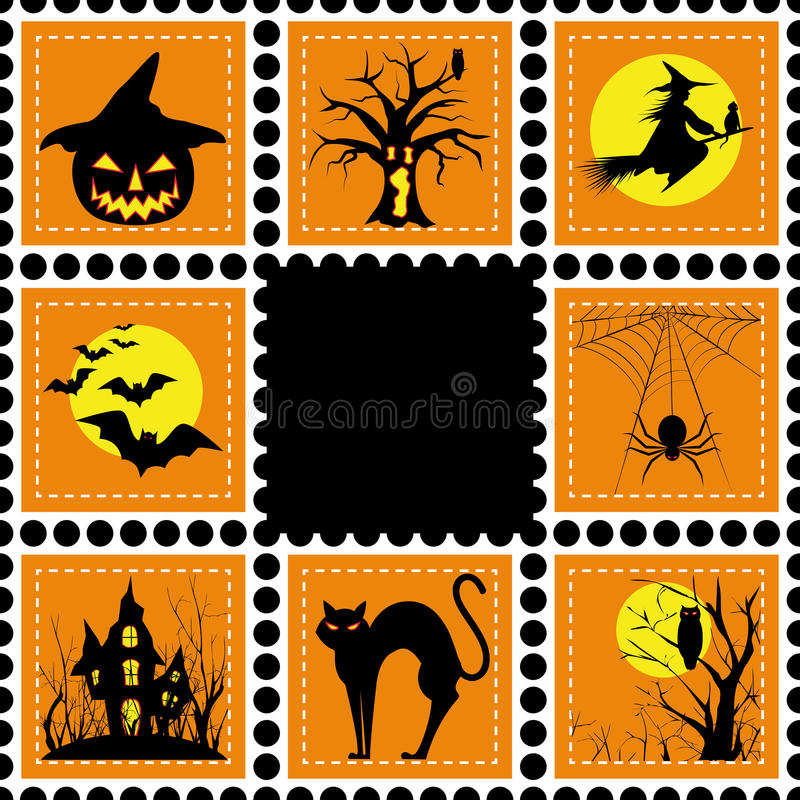 Halloween illustration set of stamp royalty free stock photo