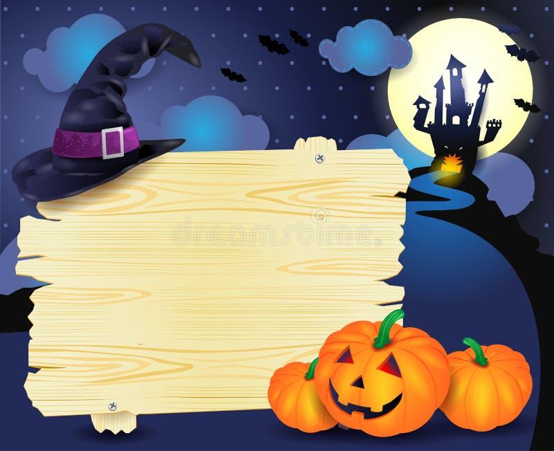 Halloween illustration with signboard. Illustration stock illustration
