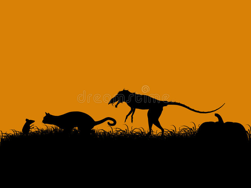 Halloween Illustration Silhouette Stock Images