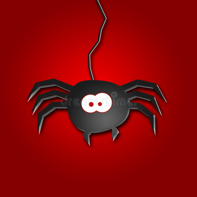 Halloween Illustration of a spider. On red background vector illustration