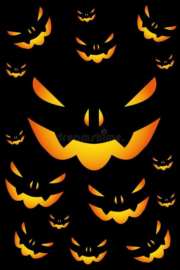halloween illustrationpumpor ställde in vektorn stock illustrationer