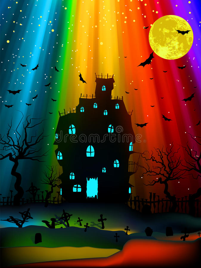 Halloween image with old mansion. EPS 8 stock illustration