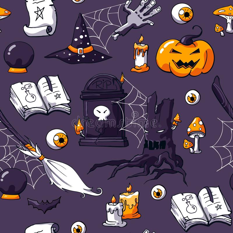 Halloween doodle image set on violet background. Seamless halloween doodle pattern. Vector hand drawn objects zombie stock illustration