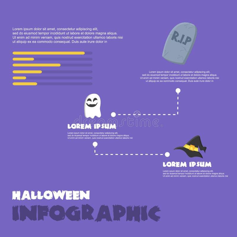 Halloween Infographic en fondo púrpura ilustración del vector
