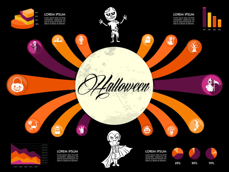 Halloween Infographics diagram spooky icons templa stock photos