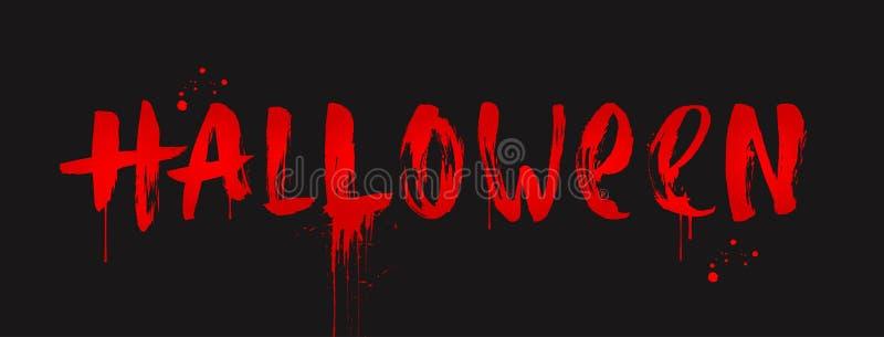 Halloween - inscripción pintada con un cepillo Saludo sangriento de Halloween libre illustration