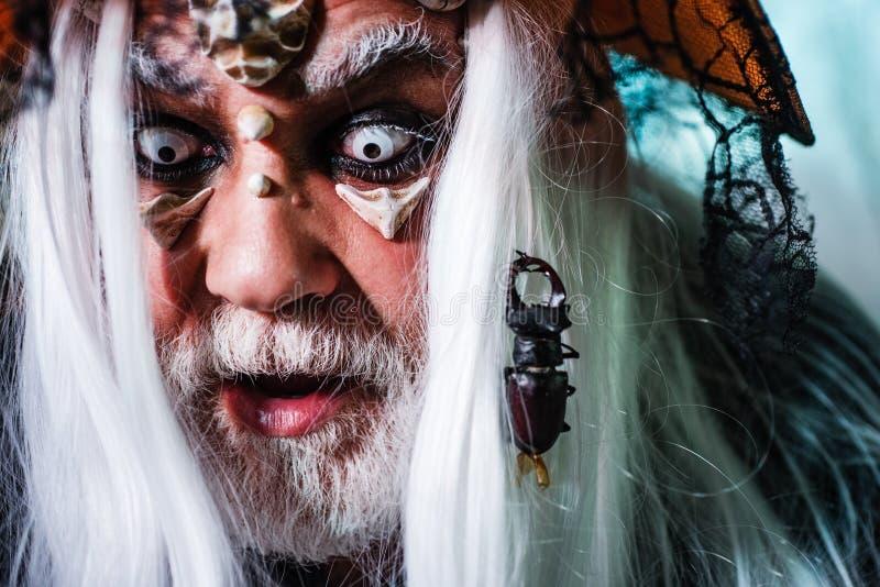 Halloween insect, insect in Face Portret van Devil met Halloween bloedig make-up om zijn emoties te tonen Demon in het donker stock afbeelding