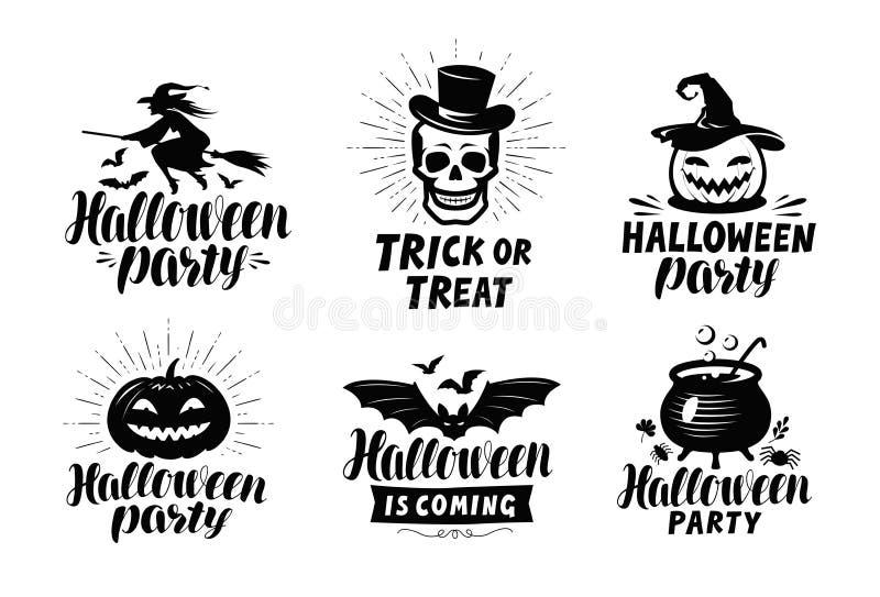 Halloween, insieme del logo o delle etichette Simbolo di festa Illustrazione di vettore dell'iscrizione illustrazione vettoriale