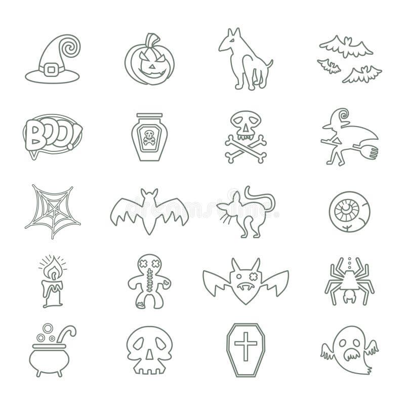 Halloween Insieme delle icone su un tema di un Halloween felice illustrazione vettoriale