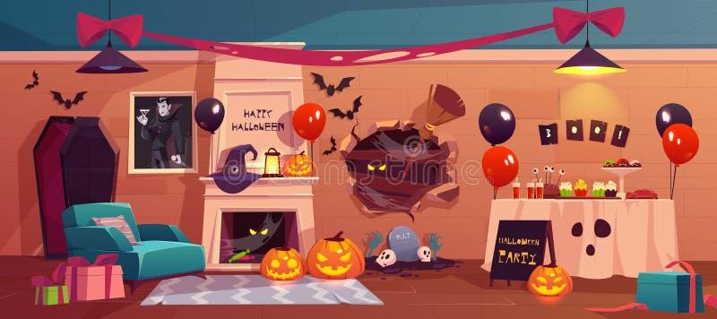Halloween interior para la celebración del partido, día de fiesta stock de ilustración