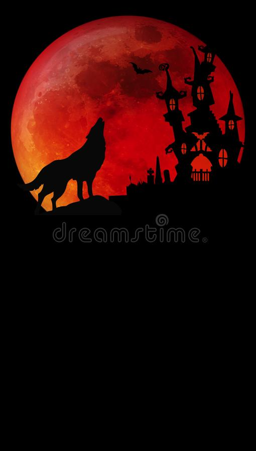 Halloween Blood Moon Wolf. Halloween Invitation with Blood Moon and Howling Wolf haunted house on graveyard hill stock photo