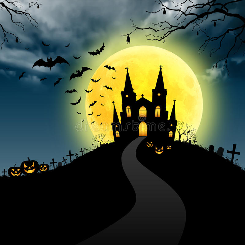 Halloween invitation with castle vector illustration