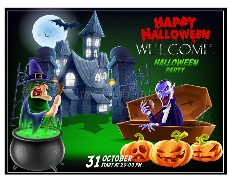 Halloween invitation flyer. royalty free stock photo