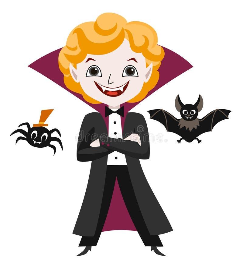 Halloween-inzameling Leuke vampier, spin en knuppel Vector illustratie royalty-vrije illustratie