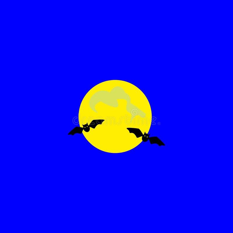 halloween isolerade symbolwhite E Nattsikt av fullmånen och flygaslagträn cartoon också vektor för coreldrawillustration royaltyfri illustrationer