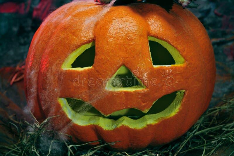 Halloween jack-o-lantern. Closeup of a Halloween jack-o-lantern in a dismal scenery stock photography