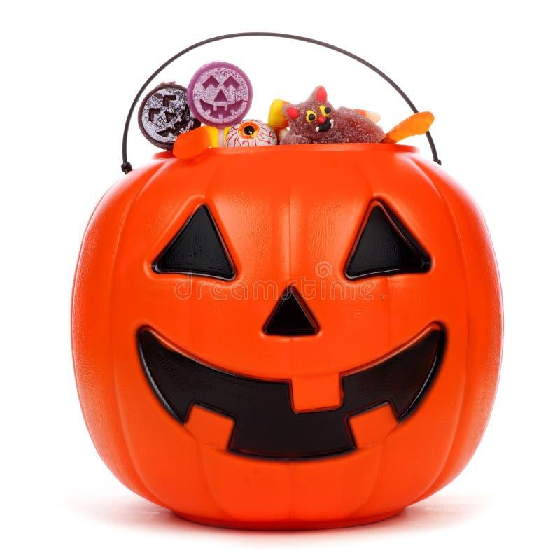 Free Halloween Jack O Lantern Candy Pail Over White Stock Image - 99072101