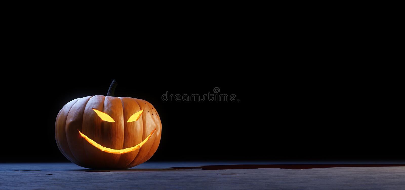 Halloween jack o lantern pumpkin. 3d illustration of a creepy Halloween Jack O& x27;Lantern on a black background in a pool of blood stock illustration