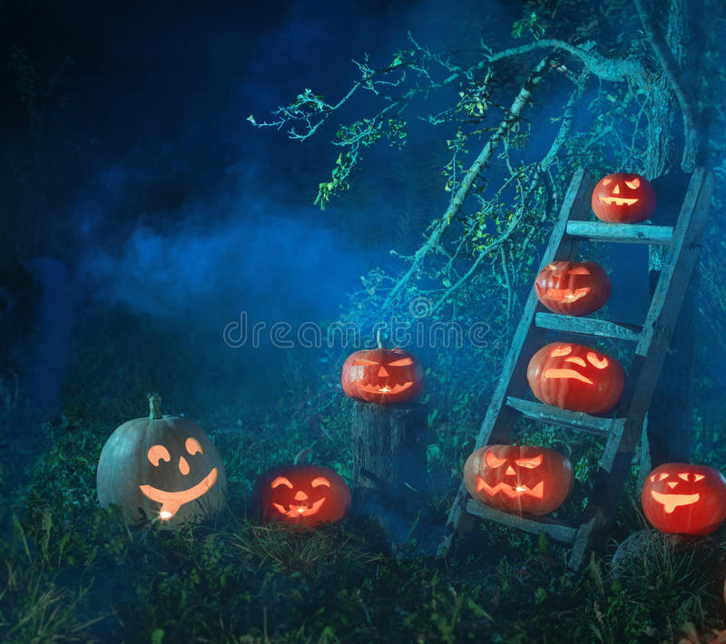 Halloween Jack-o-Lantern pumpkins. Outdoor royalty free stock photography