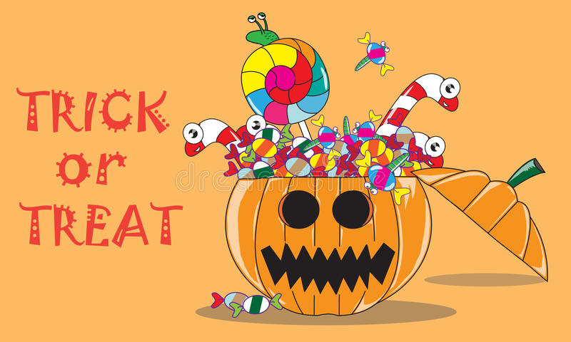 Halloween Jack O'Lantern with Trick or Treat royalty free illustration