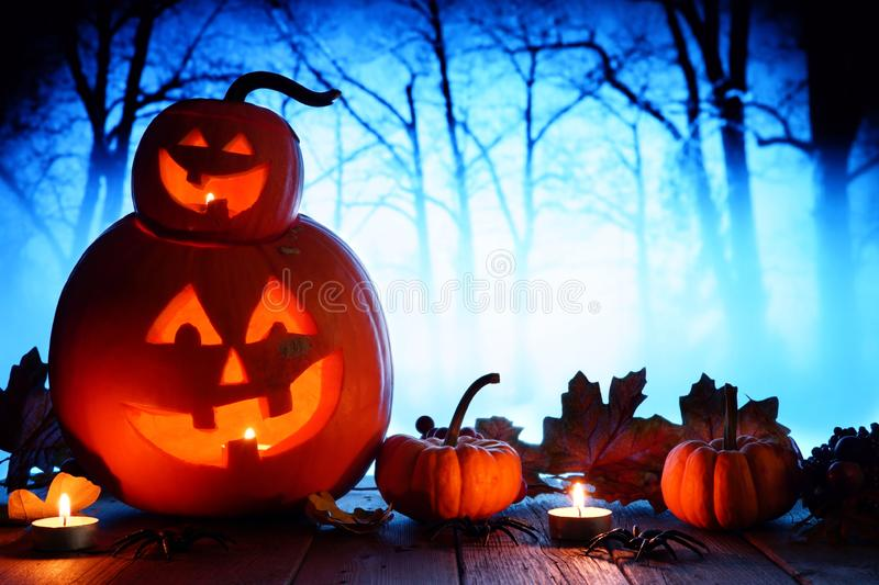 Halloween Jack o Lanterns against spooky blue lit forest stock photos